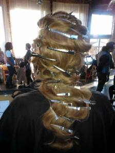 The back of the hairstyle with the waves put in and the clips.