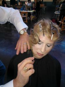 Daniel doing the finishing touches on the finger waves at the ORIBE class in Atlanta