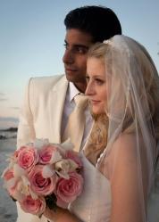 Bride and Groom Salon Tease Beach Wedding Up